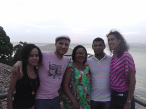 Here I am with my host family overlooking Salvador's beautifully restored art museum right on the water.  From left to right, our friend Adriana, Colin, Mainha, Zinho, and me!