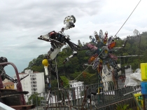 Recycled art on the hillside