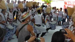 I was in Candeal on world AIDS day, when there was a very special event happening with lots of VIPs from the State Government of Bahia and also a visit from Carlinhos Brown.  After the VIPs gave their speeches, Candeal's local batucada, busted through the gates, playing super foot stomping, bootie-shaking, boogy-down music and led everyone out of the venue onto the streets.