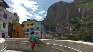 Heading back from the beach, with Rocinha in the background