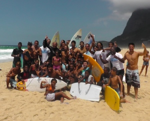 Gabriel Medina with the surf crew at São Conrado