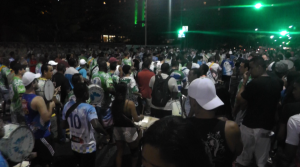 Hundreds of drummers at the rehearsal of the Rocinha samba school