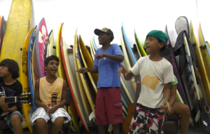 The kids at Rocinha surf school getting down to their favorite tunes